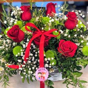 Centro rosas rojas Deméter