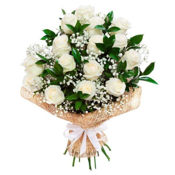 Ramo 18 rosas blancas Lavanda