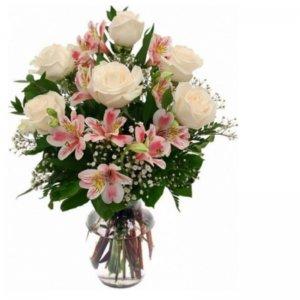 Ramo 6 rosas blancas Cielo