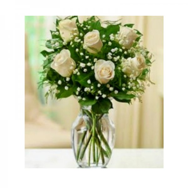 Ramo 6 rosas blancas funeral