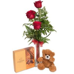 Ramo 3 rosas peluche y bombones Anubis